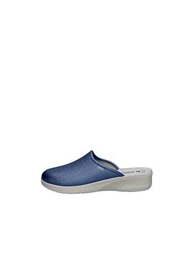 inblu 50000033N Jeans Ciabatte Donna Sottopiede Vera Pelle ANATOMICO Zeppa 3,5 CM Azzurro 39