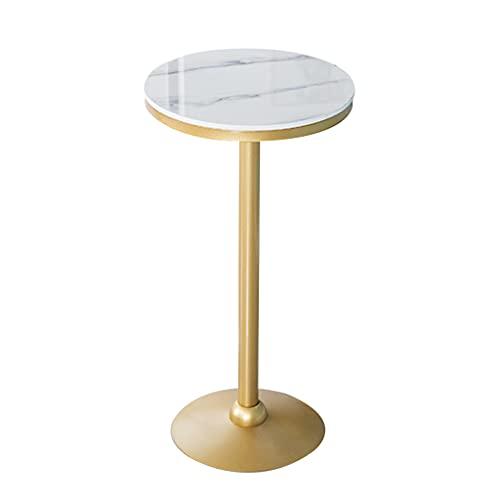 HQBL 55cm runder Marmor-Stehtisch, Goldschmiedeeisen-Tischbeine-Stabile Basis, einfach zu montieren - für Küche/Außenterrasse/Schnaps für Keller/Party - Weiß (für 2-4)