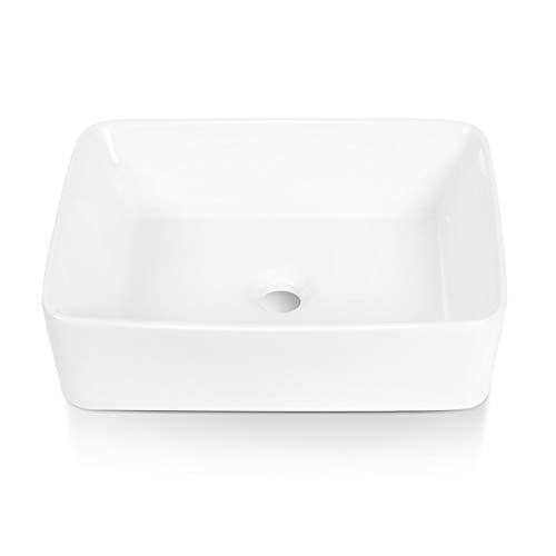 "Sinber 19"" x 15"" White Rectangular Ceramic Countertop Bathroom Vanity Vessel Sink"