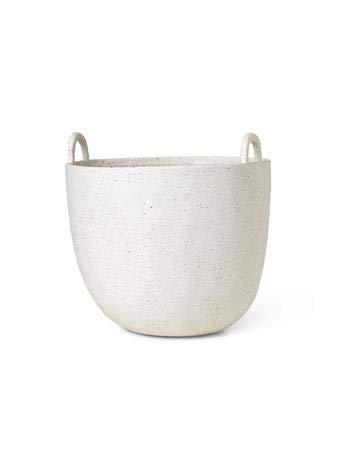 ferm Living Grande vaso per piante in porcellana bianca, smaltata, diametro e altezza 30 cm, 110229202