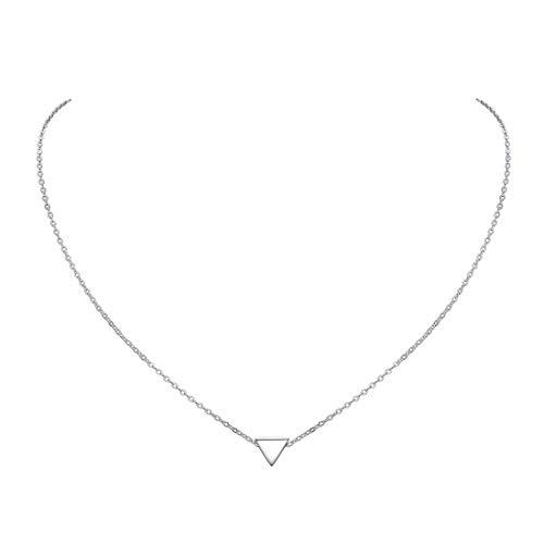 ChicSilver Triángulo Colgante Pequeño Oro Blanco Plata de Ley 925 Collar Moderna para Mujeres Muchachas Niñas