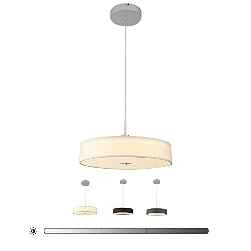 Chasebright, lampada a sospensione moderna a LED in tessuto con 3 livelli di luminosità regolabile, luminosità bianca calda, 4000K, per sala da pranzo, camera da letto, studio, bianco. 45cm, 36W