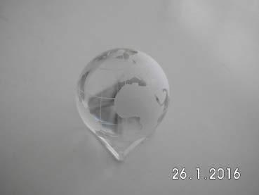 Gaide und Petersen Kristallglaskugel Erde ca. 60mm Weltkugel aus Glas, Globus,Glaskugel (139102)