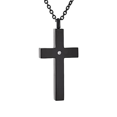 Collar de urna Simple Cruz de acero inoxidable Medallón de urna Colgante Memorial Cenizas Recuerdo Collar de cremación Cristal Colgante de cruz negra