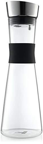 HEYNNA® Premium Karaffe/Wasserkaraffe mit Edelstahl Ausguss und praktischem Griff 1L Borosilikatglas