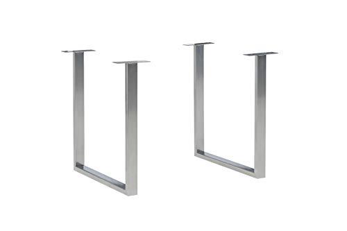 FORTE FUS201-925, FORTE Tischsystem, 2-er Set Tischbeine U-förmig, Metall, Chrom glänzend  Chromfarbig Glänzend