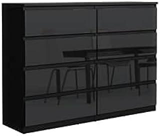 Élégante et spacieuse Commode Demii 8 tiroirs 140cm, Parfaite pour Le Salon, Le Bureau, la Chambre (Noir Brillant)