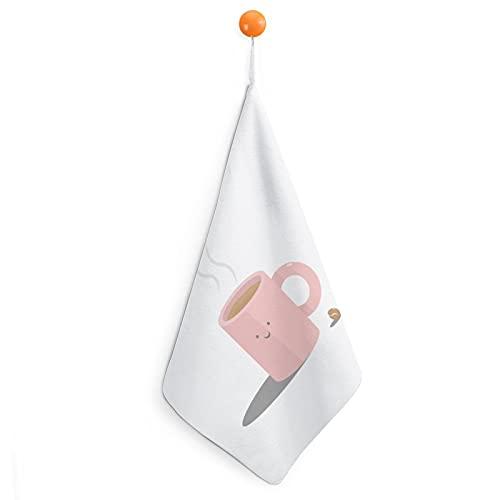 Toalla de mano de algodón egipcio súper suave, absorbente y de secado rápido, 30 cm, color café rosa 30 cm