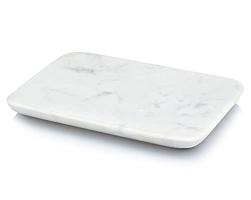 Beau Brummell Solid White Marble Decorative Jewelry & Accessory Tray for Bathroom, Kitchen, Vanity, Dresser, Nightstand or Desk   Hand Crafted from 100% Real Solid White Marble   Great Gift for Men & Women   Measures 6.5' x 4.5' x 0.5'