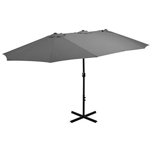 Festnight Parasol de Jardin Parasol d'extérieur Parasol en Aluminium pour Patio 460 x 270 x 246 cm Anthracite