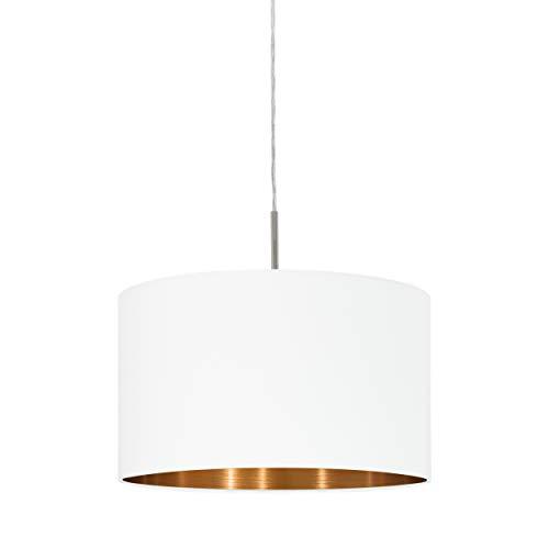 EGLO Pasteri Plafonnier à 1 ampoule En acier et en tissu Couleur : Nickel mat, blanc, cuivre, douille : E27, Ø : 38 cm, Acier Textile, Nickel mat blanc cuivre, 38 x 38 x 110 cm, E27