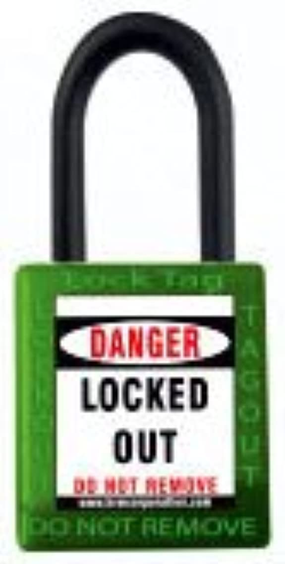 LOTO 10 Pc Set Of Safety Isolation Padlock With Nylon Shackle And Differ Key Green
