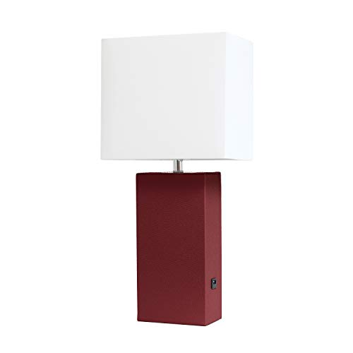 Elegant Designs LT1053-RED Modern Leather USB and White Fabric Shade Table Lamp, Red