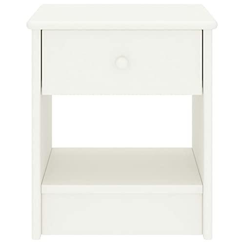 Wakects Mesita de noche blanca con 1 cajón y compartimento abierto, de madera maciza de pino, 35 x 30 x 40 cm
