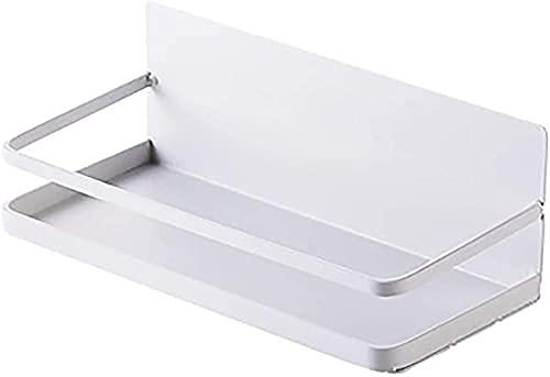 Estante magnético para frigorífico Estante Colgante para refrigerador Estante de Almacenamiento multifunción sin Perforaciones para baño Cocina Sala de Estar Blanco (Color: Negro) -Blanco