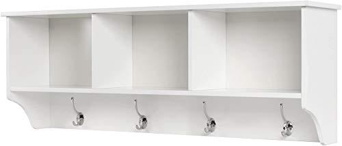 Wandgarderobe mit 8 Haken Hängeschrank mit 3 Fächer Wandschrank aus Holz Wandregal mit Garderobe Oberschrank für Bad Flur Wohnzimmer Küche Weiß 98x20x35cm