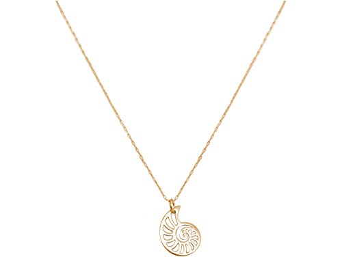 Gemshine Maritim Nautics Halskette mit Nautilus Muschel aus 925 Silber, hochwertig vergoldet oder rose im Navy Stil – Made in Madrid, Spain, Metall Farbe:Silber vergoldet