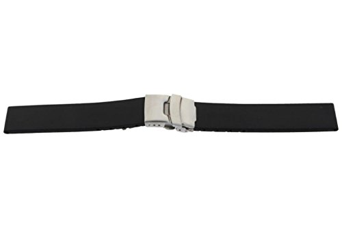 Silikon-Kautschuk Uhrenarmband mit Edelstahl Faltschließe schwarz glatt 22mm
