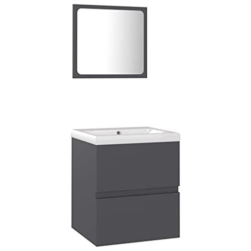 vidaXL Conjunto de Muebles de Baño Aseo Inodoro Armario Lavabo Empotrado Fregadero Escurridor de Empuje Grifo Espejo Tocador Aglomerado Gris