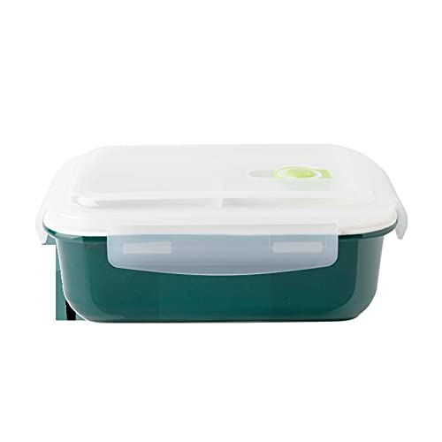 N\C Caja de almuerzo de cerámica de microondas cuando caja Dogg tinta verde hebilla sello con tapa trabajadores de oficina con tazón de conservación de arroz