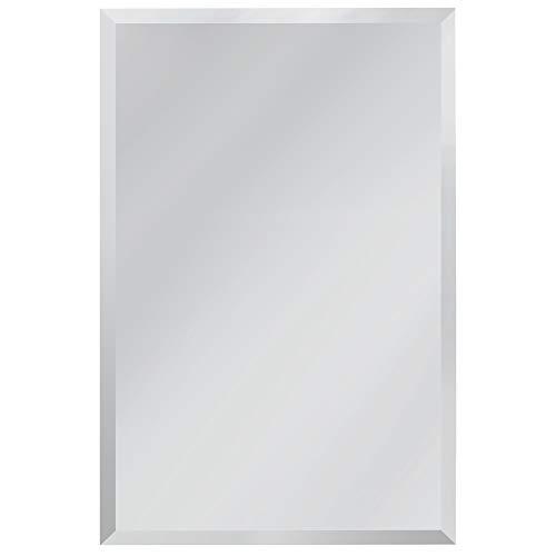 Red Co. Espejo de pared rectangular minimalista moderno, sin marco con borde biselado, grande, 61 x 91 cm