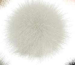 AK.SSI 10 cm Kunstfell flauschig Bommel Ball mit elastischer Kordel abnehmbare Strickmütze Zubehör für Wolle Strick Beanie Skimütze Wintermütze, weiß