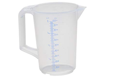 hünersdorff Messbecher (1L), bruchsicher,besonders temperaturbeständig,farbige Skala,Lebensmittelgeeignet,aus Polypropylen(PP),geschlossener Griff,transparent-blau