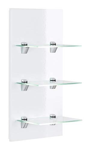 emotion Panel Santini Badregal Weiss Hochglanz mit 3 Glasablagen