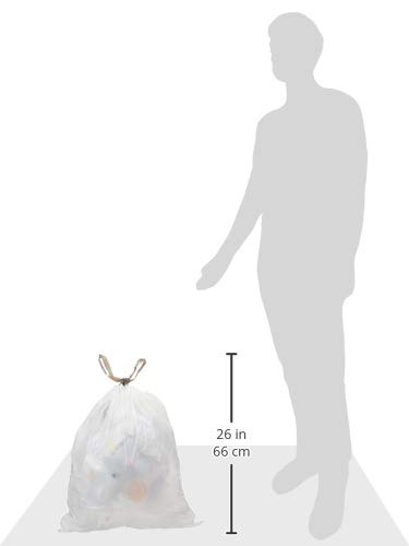AmazonCommercial - AMZB-13GW-1.2MDS-SHK Custom Fit White Drawstring Trash Bags - Compatible with simplehuman Type K - 1.2 MIL - 60 Count