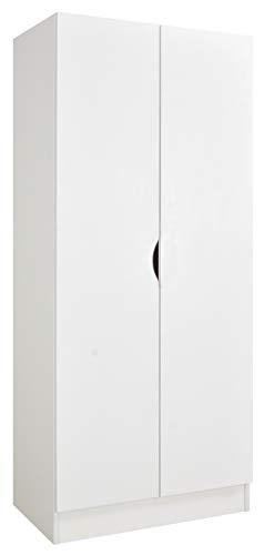 Leomark Weiß zweitüriger Kleiderschrank - Roma - funktionaler Schwebetürenschrank, Kommode, Schrank, Möbel für Kinder, Dim: 70 x 42,5 x 161,5 (H) cm