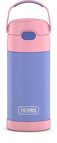 THERMOS Garrafa de canudo infantil Funtainer 355 ml de aço inoxidável isolada a vácuo, roxo/rosa