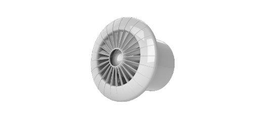 Wandlüfter mit Hygrostat Feuchtesensor Ø 120 mm 12 cm aus Kunststoff in weiß Badlüfter Küche Bad Wohnraum Keller