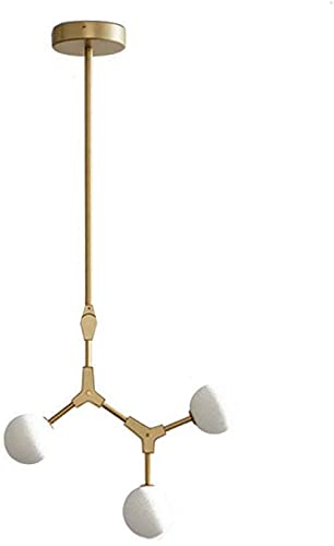 QHCS Lámpara de Techo de araña Industrial Lámpara de Techo Negra para Comedor, Bola de Cristal Moderna de Durante la iluminación Lámpara de Techo para Sala de Estar-Gloden 3 Cabezas