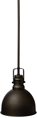 Westinghouse Lighting 6345600 One-Light Mini Pendant Hammered Oil Rubbed Bronze Finish with Highlights