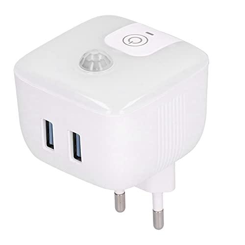 T-Day , Luz Nocturna, Lámpara de inducción Corporal con luz Nocturna enchufable con Puertos USB duales de 5 V/2,4 A para escaleras de Pasillo de Dormitorio 100‑240 V(European Regulations)