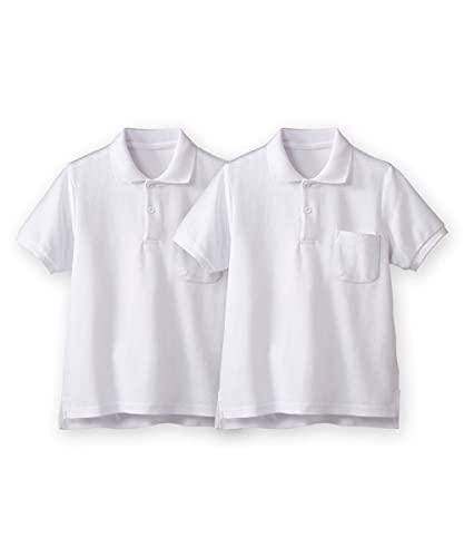 [nissen(ニッセン)] スクール ポロシャツ 半袖 セット 2枚組 ポケットあり 綿 100% 通園 通学 制服 キッズ ジュニア 子供 男の子 女の子 兼用 白 100