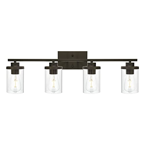 QueeuQ Bathroom Vanity Light Fixtures Oil Rubbed Bronze Finished 4-Light with Clear Glass Shade Contemporary Wall Sconces Bathroom Lighting Wall Mount Lamp for Kitchen Entryway Living Room Hallway