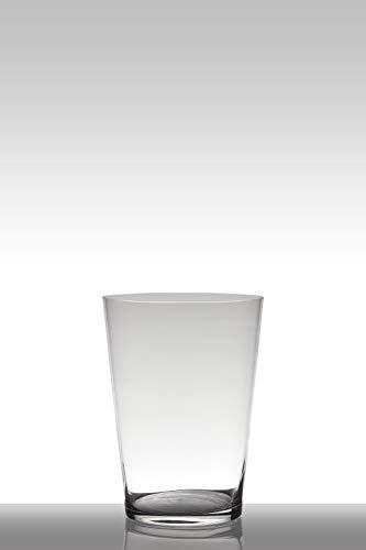 INNA-Glas Jarrón de Suelo Velma, Embudo - Redondo, Transparente, 30cm, Ø 22cm - Florero de Cristal - Jarrón Decorativo