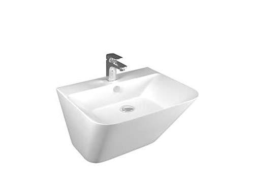 Moena Waschbecken Wandmontage | Hängewaschbecken |Moderne Design Waschbecken aus Keramik | Wandwaschbecken 53 cm | Waschtisch für Hotels, Gastgewerbe und Gastronomie | Weiß