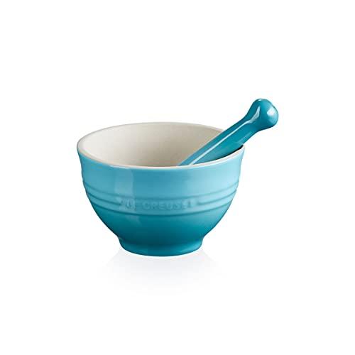 Le Creuset Mortero y pistilo, Cerámica de gres esmaltada, diámetro 11.5 cm, 360 g, 300 ml, Azul Teal