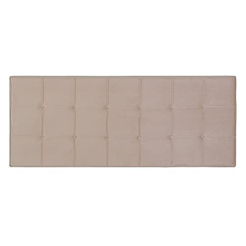 Cabecero tapizado capitoné de Terciopelo Beige para Cama de 135/150 cm - LOLAhome