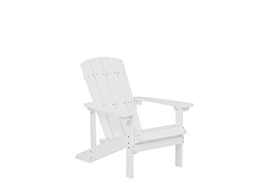 Beliani Moderner Muskoka Gartenstuhl in Weiß mit Breiten Armlehnen Adirondack