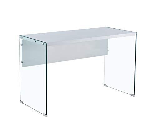 HABITMOBEL Mesa Oficina Escritorio Cristal, lacada Blanca, 120 x 56 cms