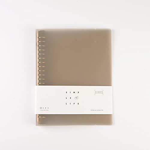 LLK Papelería Gris translúcida Carpeta A4 / B5 / A5 Hoja de Hojas Sueltas PP Shell Papel Poroso Papel Papel Carpeta Organizador Oficina Accesorio