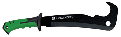 Hooyman Hook 'em Machete with Heavy Duty Construction, Ergonomic Non-Slip Handle and Belt Sheath for Gardening, Land Management, Bushcraft, Hunting...