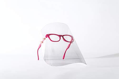 Gesichtsschutzschirm, Gesichtsschutz, Gesichtsmaske, Schutzmaske, Industriemaske, Augenschutz, Kunststoffmaske, Maske mit Brille, sterile Maske, 7 Farbe, hergestellt in der EU (1 Pack, Fuchsia)
