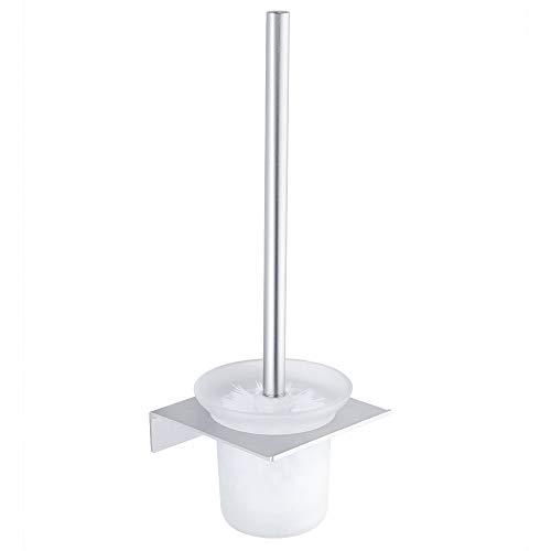 Hoomtaook Porta Scopino per WC Spazzolone WC Contenitore per Spazzole da Bagno Senza Chiodi, Senza Danni, Nastro Biadesivo, Alluminio, Anti Ruggine Montatura a Muro
