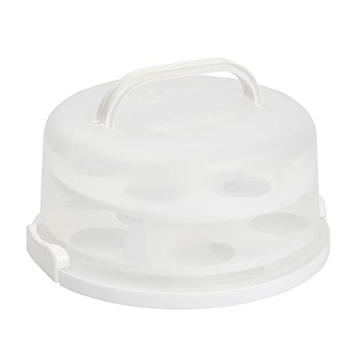 2-In-1 Round Cake Carrier with Lid for 10-Inch Pies, 14 Cupcakes (12 x...
