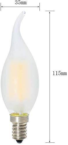 10er-Pack 4W Dimmbar LED Lampe in Kerzenform mit E14 Fassung,Ersetzt 40 Watt,LED Filament Kerze Birne Windstoß Matt Warmweiß 2700K - 4