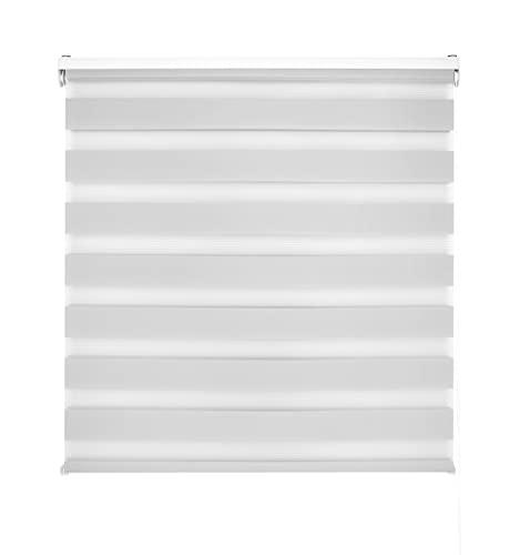 Blindecor LIRA - Estor enrollable de doble capa Noche y Día, Gris Plata, 100 x 250 cm, ancho x largo